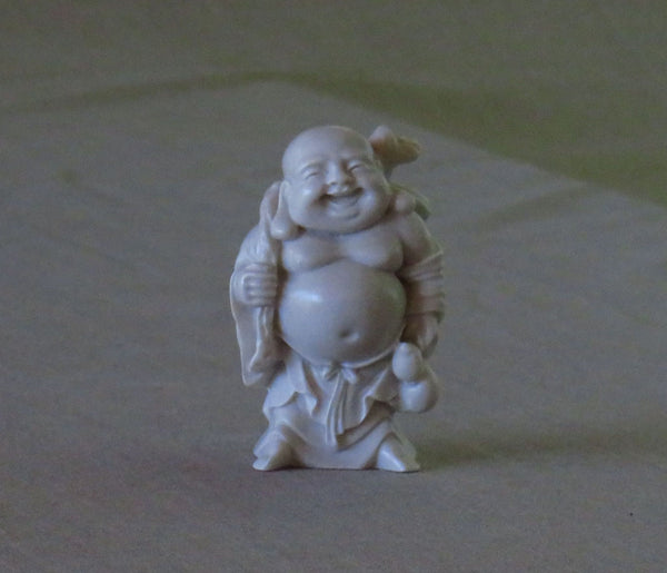 Happy Medium Travelling Buddha in white marble