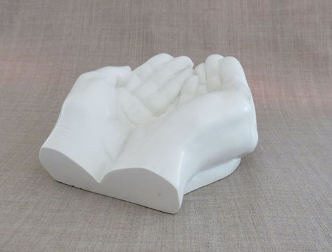 Large open hands in Powdered marble, soap dish, Jewellery holder, Unusual gift. Artisan made.