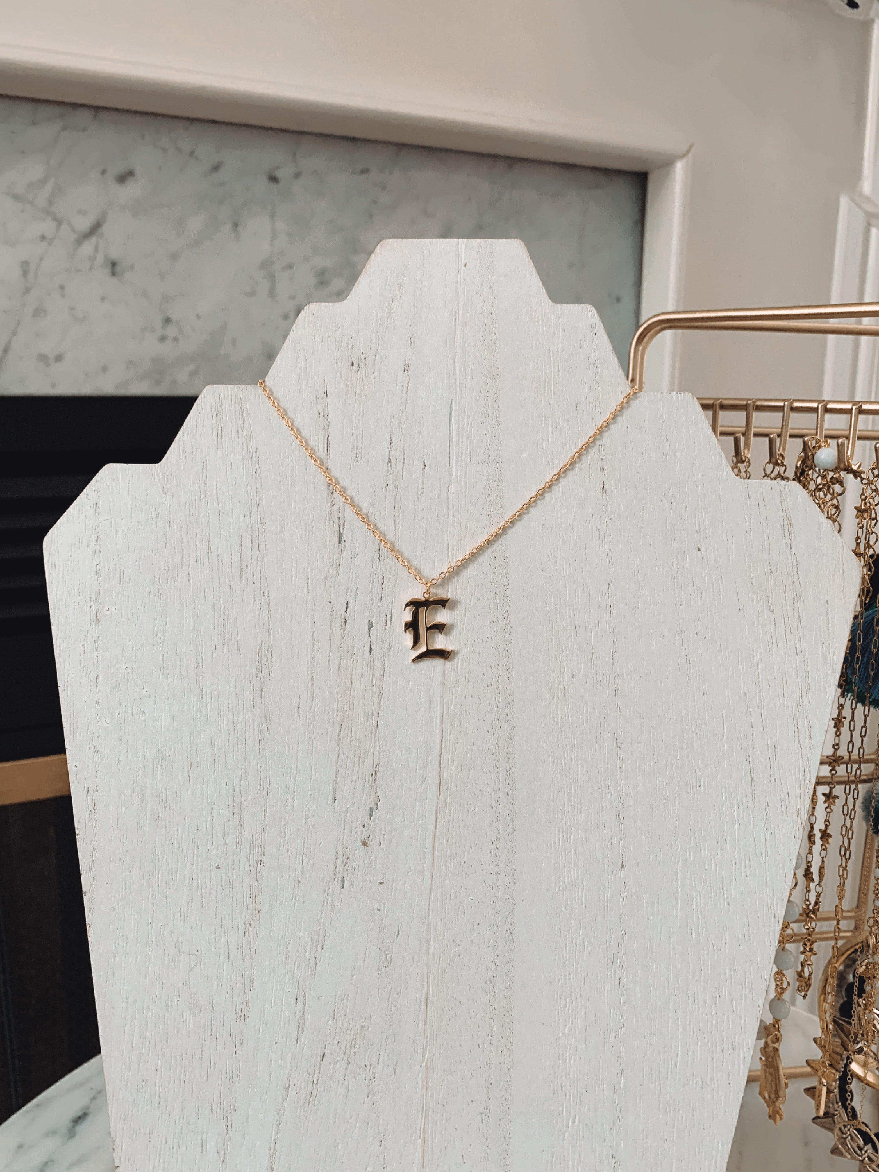 Gothic Initial Necklace - Talay Jewelry
