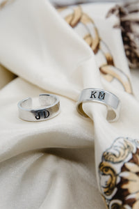 Hand stamped silver aluminum ring with Courier New font and oxidized letters. Perfect gift for friends, partners, boyfriends, girlfriends, and family!