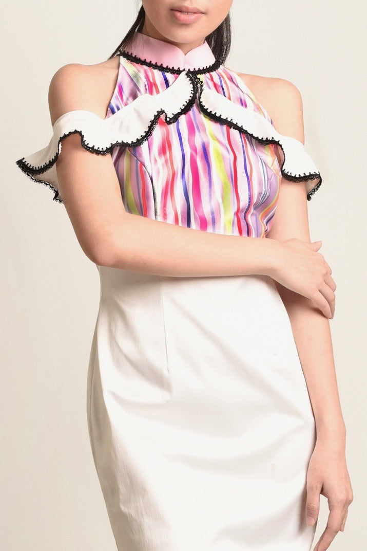 ( PRE-ORDER ) Celest Stripes Cold Shoulder Cheongsam Dress