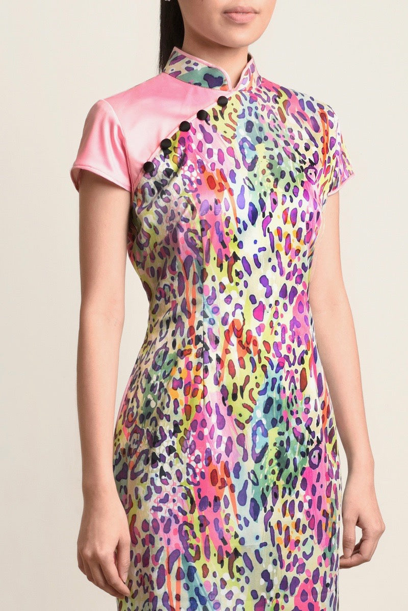 ( PRE-ORDER ) Sophie Contrast Leopard Cheongsam