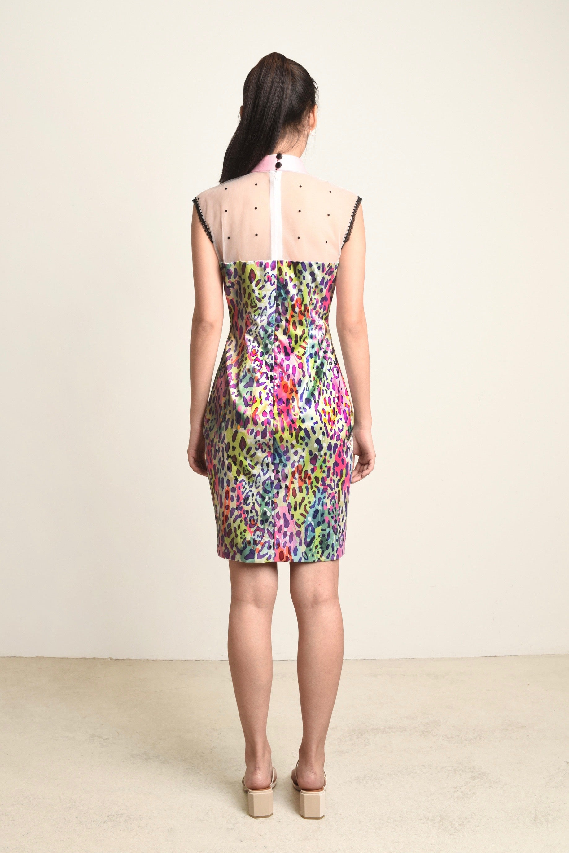 Blair Leopard Mesh Shoulder Cheongsam