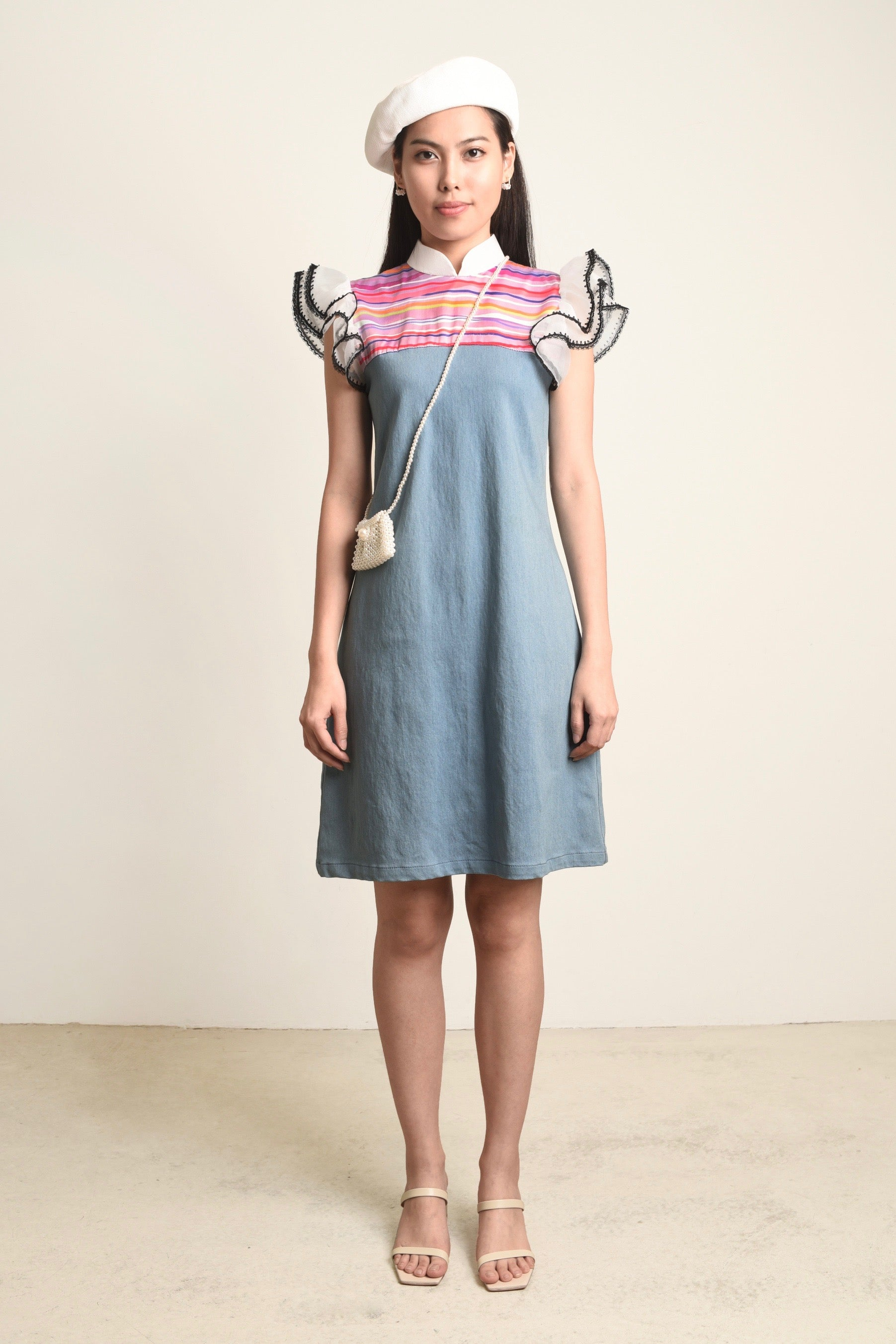 Geraldine Organza Sleeves Denim Dress