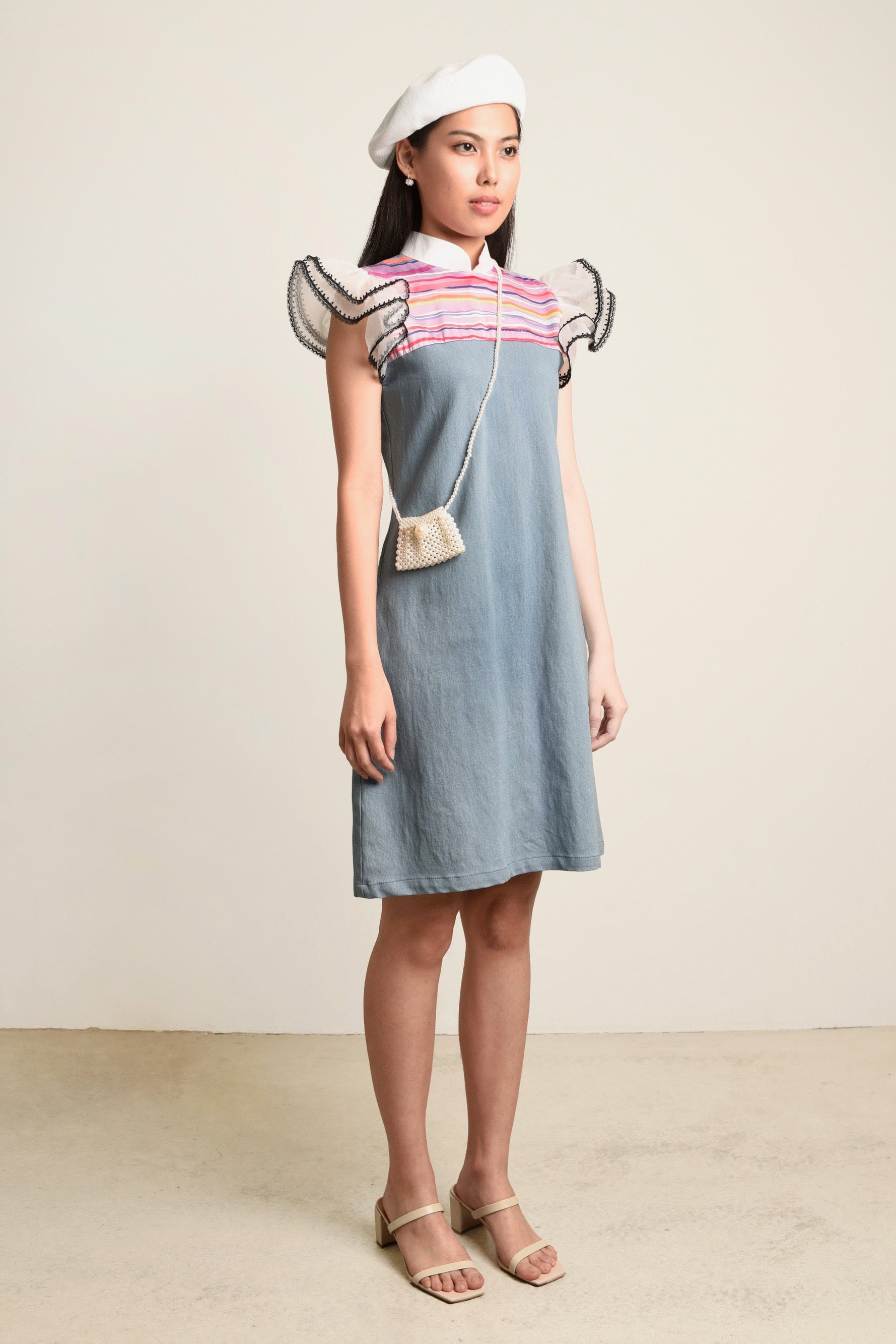 ( PRE-ORDER ) Geraldine Organza Sleeves Denim Dress