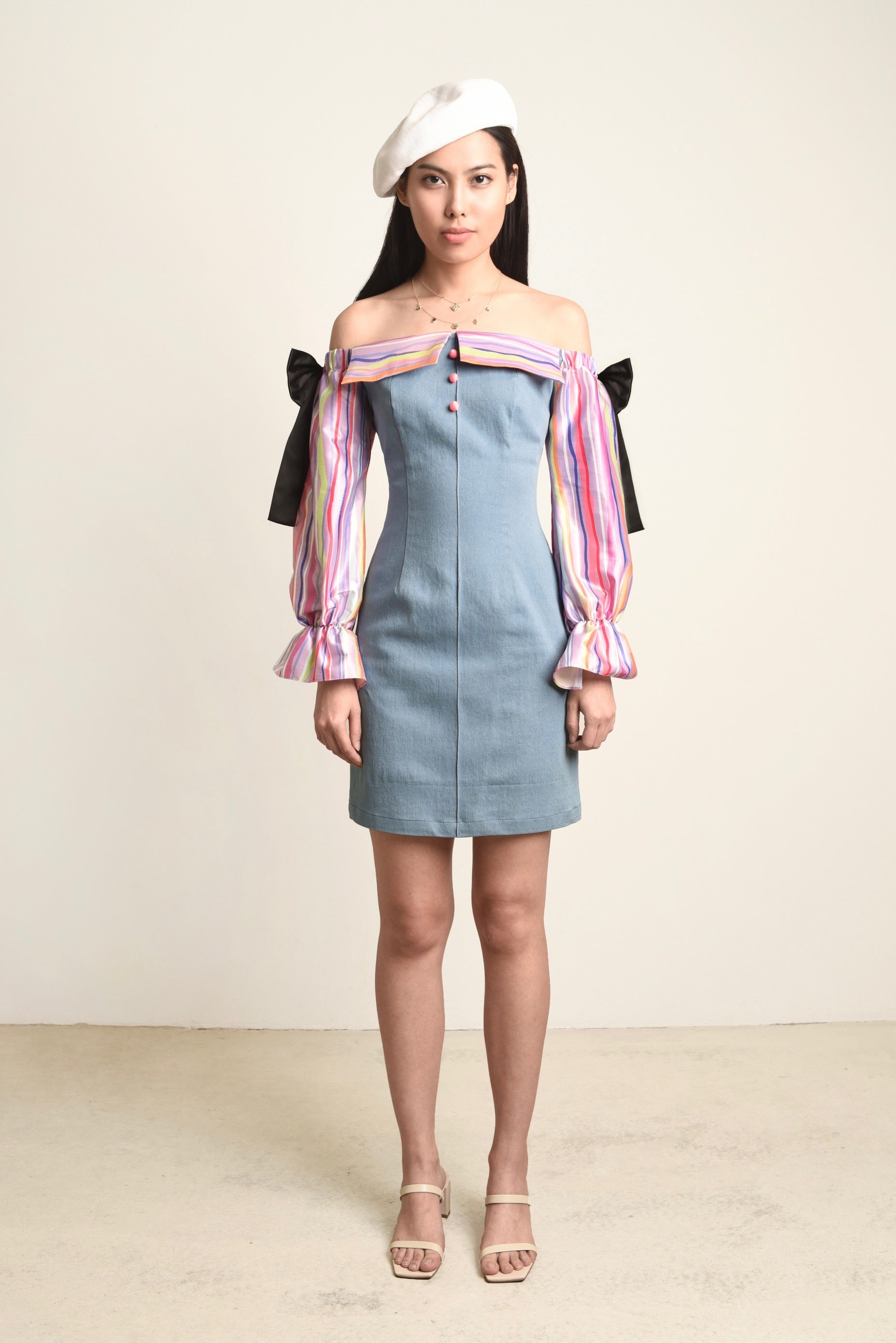 Evelyn Puff Sleeves Denim Dress