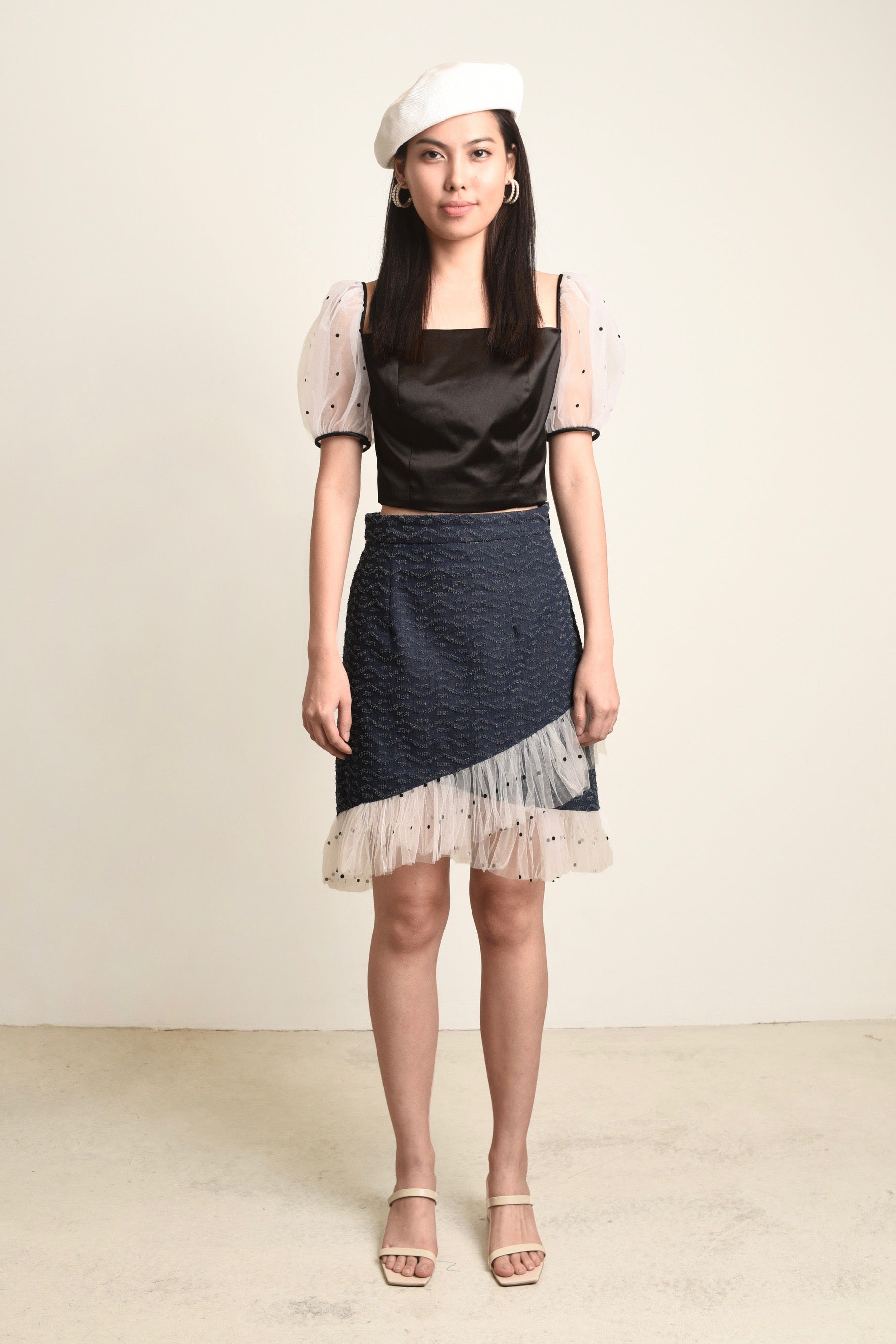 Sandy Denim Dots Tulle Skirt