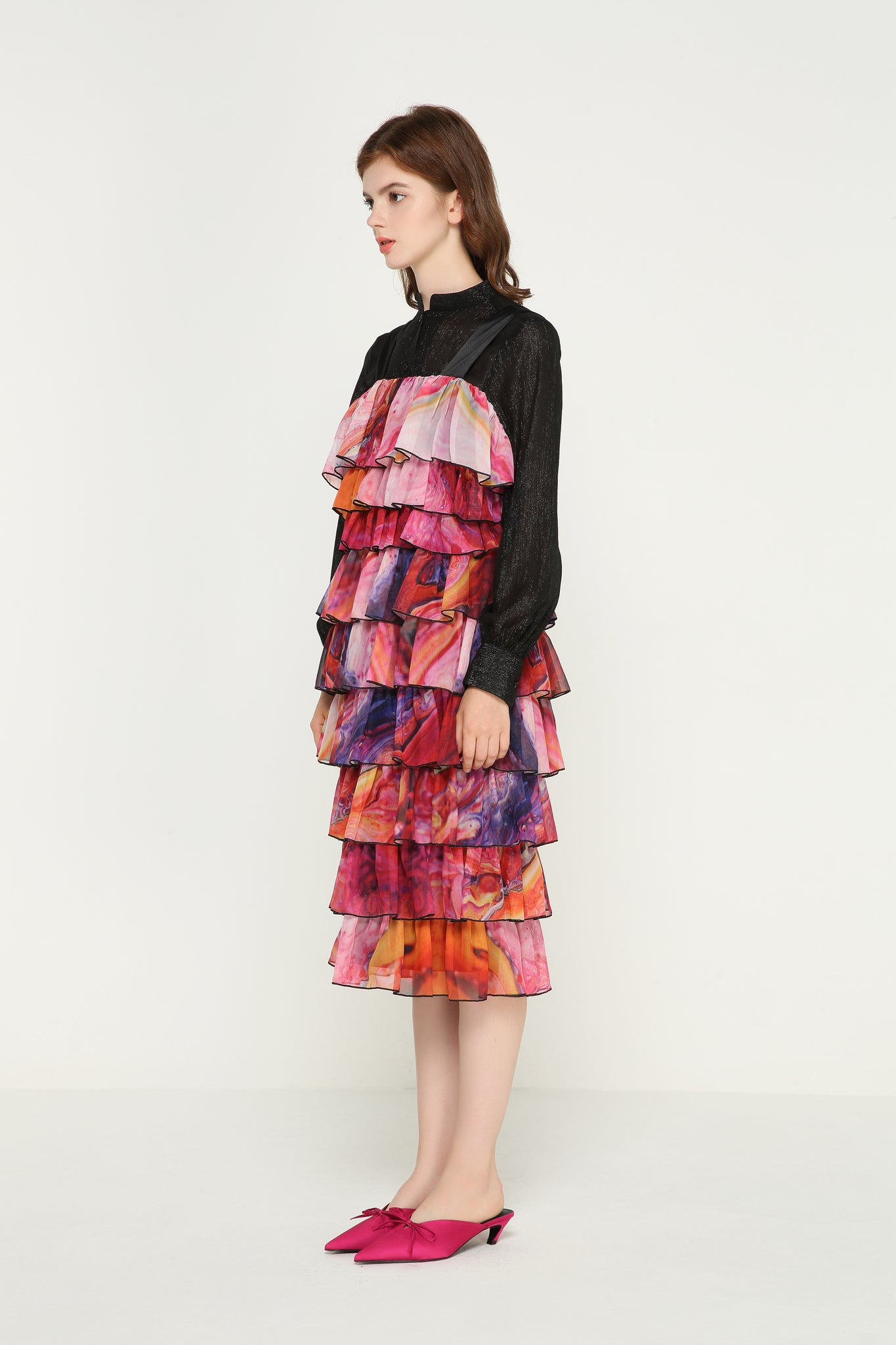 GERALDINE Layered Ruffles Chiffon Dress