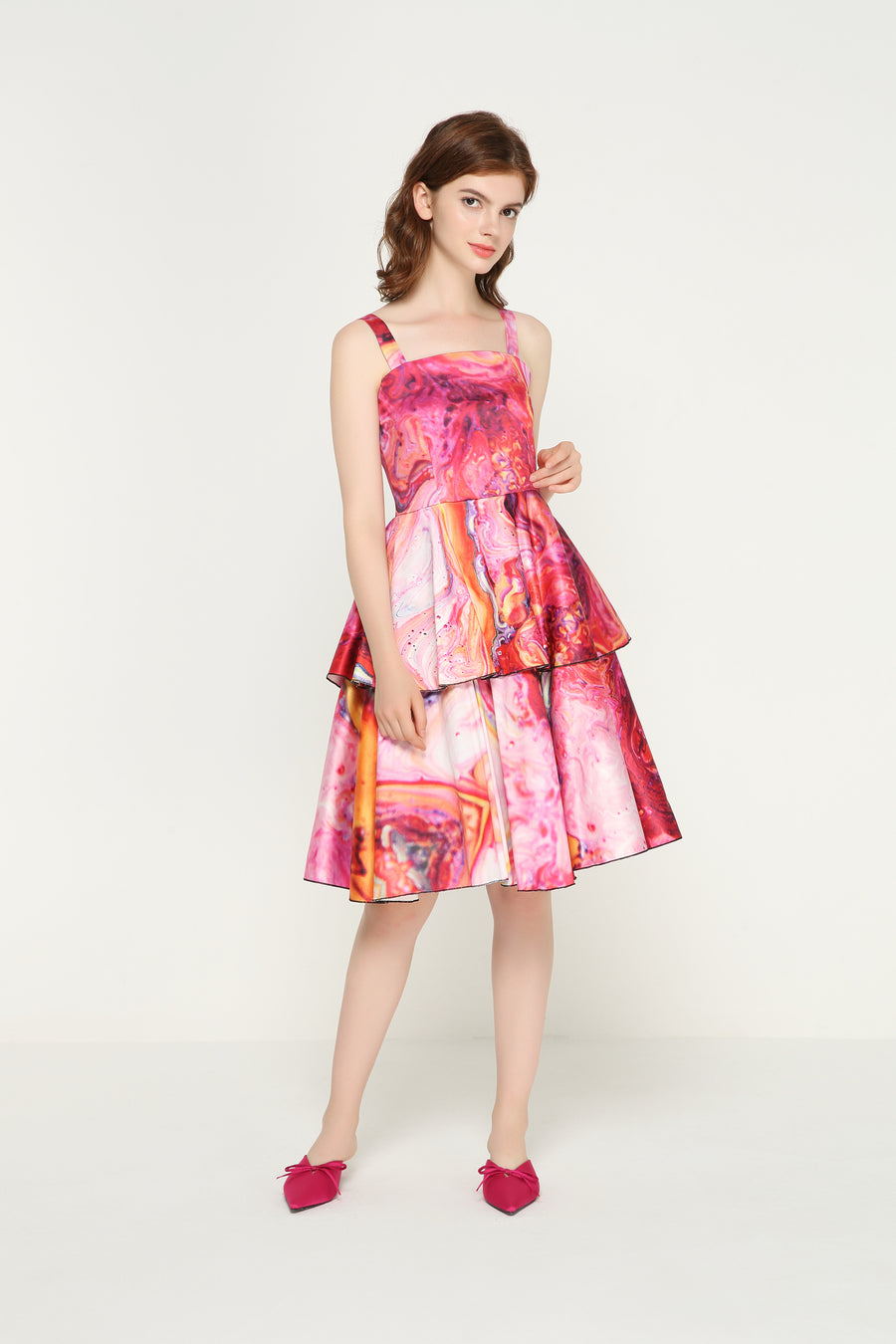 EVELYN Satin Layer Dress