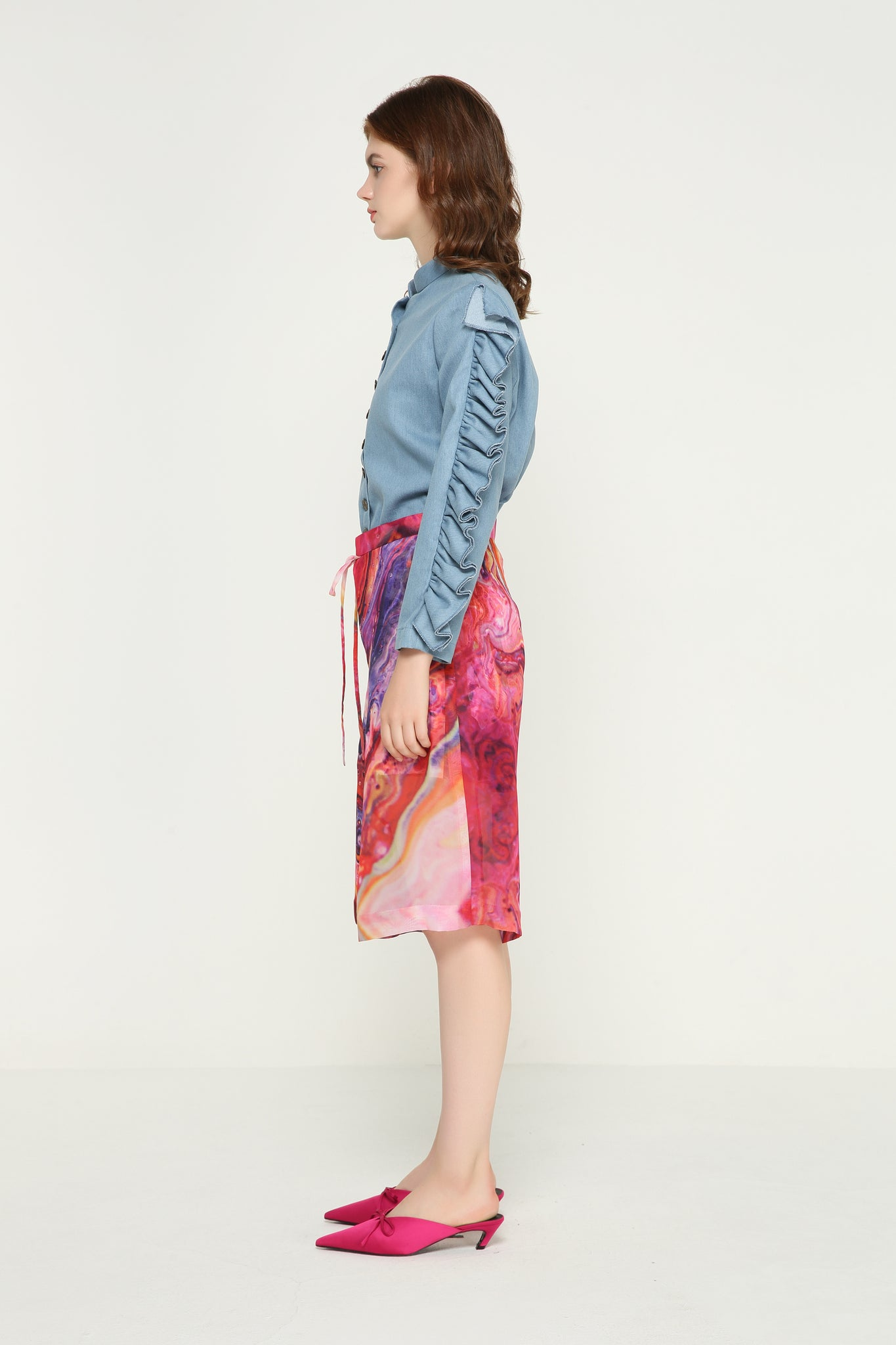 ADELE I Feel Good Denim Ruffles Shirt