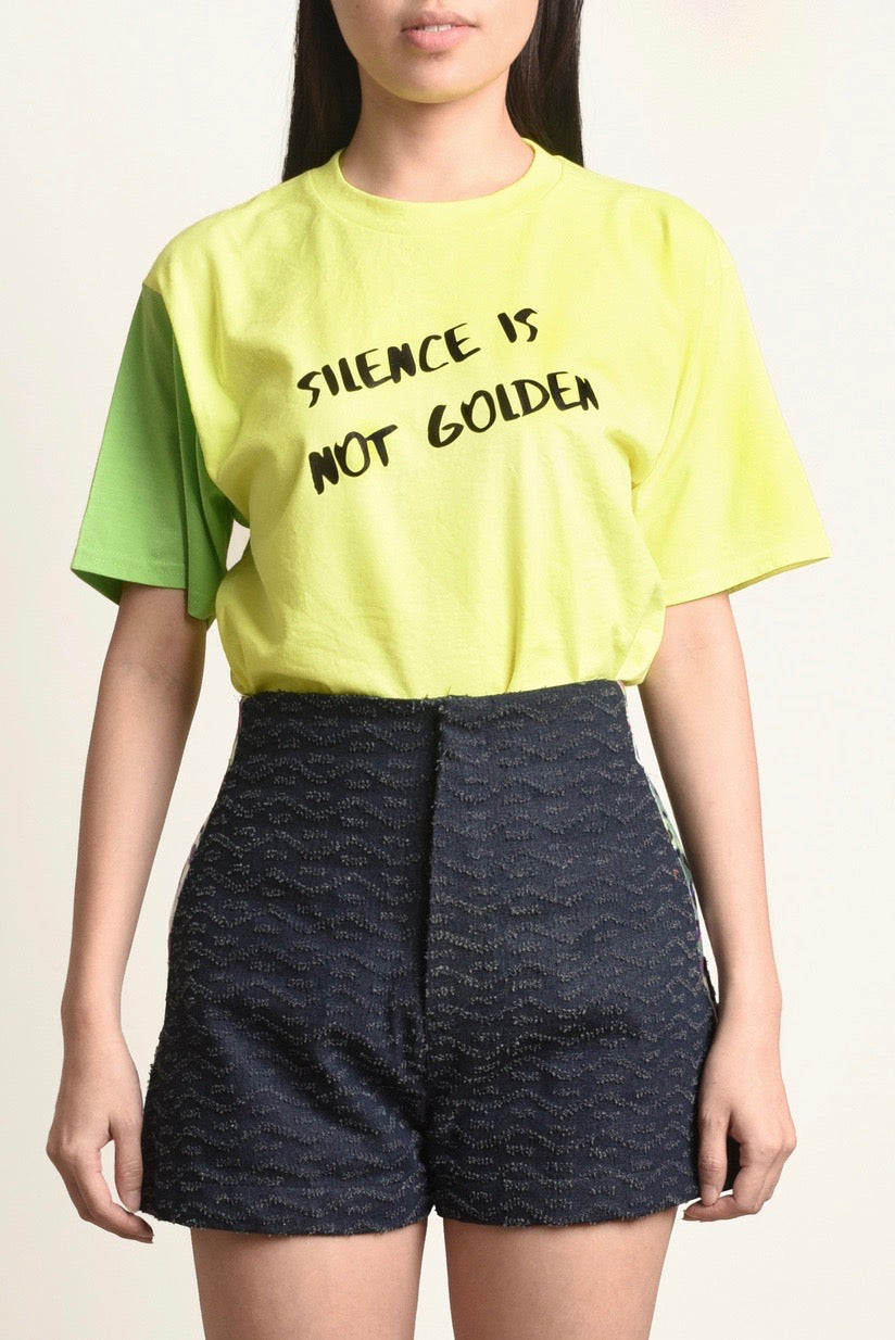 Printed Slogan Colorblock T-Shirt With Embroidery