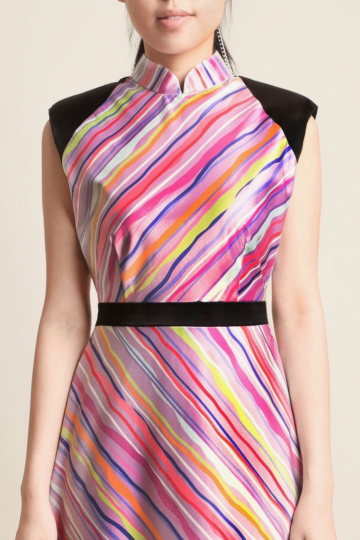 Adele Slanted Stripes Broad Shoulder Dress