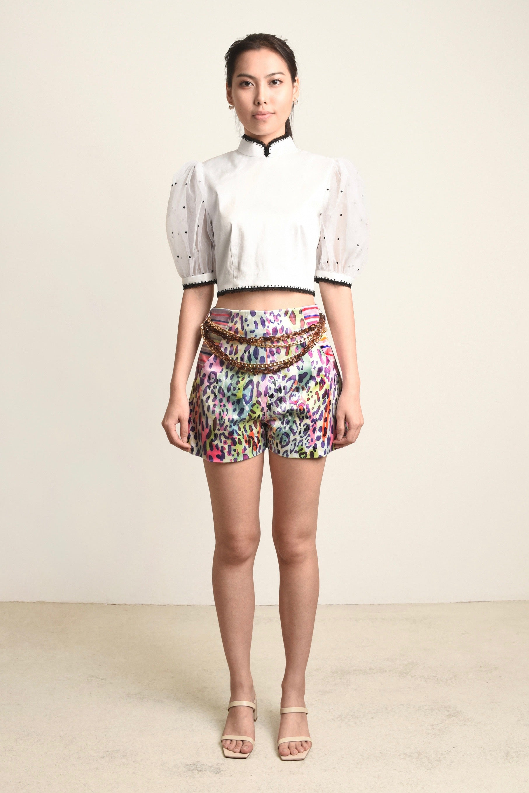 Isabelle Contrast Printed Shorts