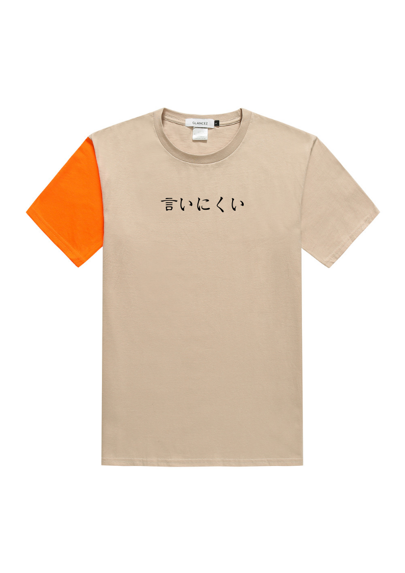 Japanese Slogan Colorblock T-Shirt With Embroidery Logo