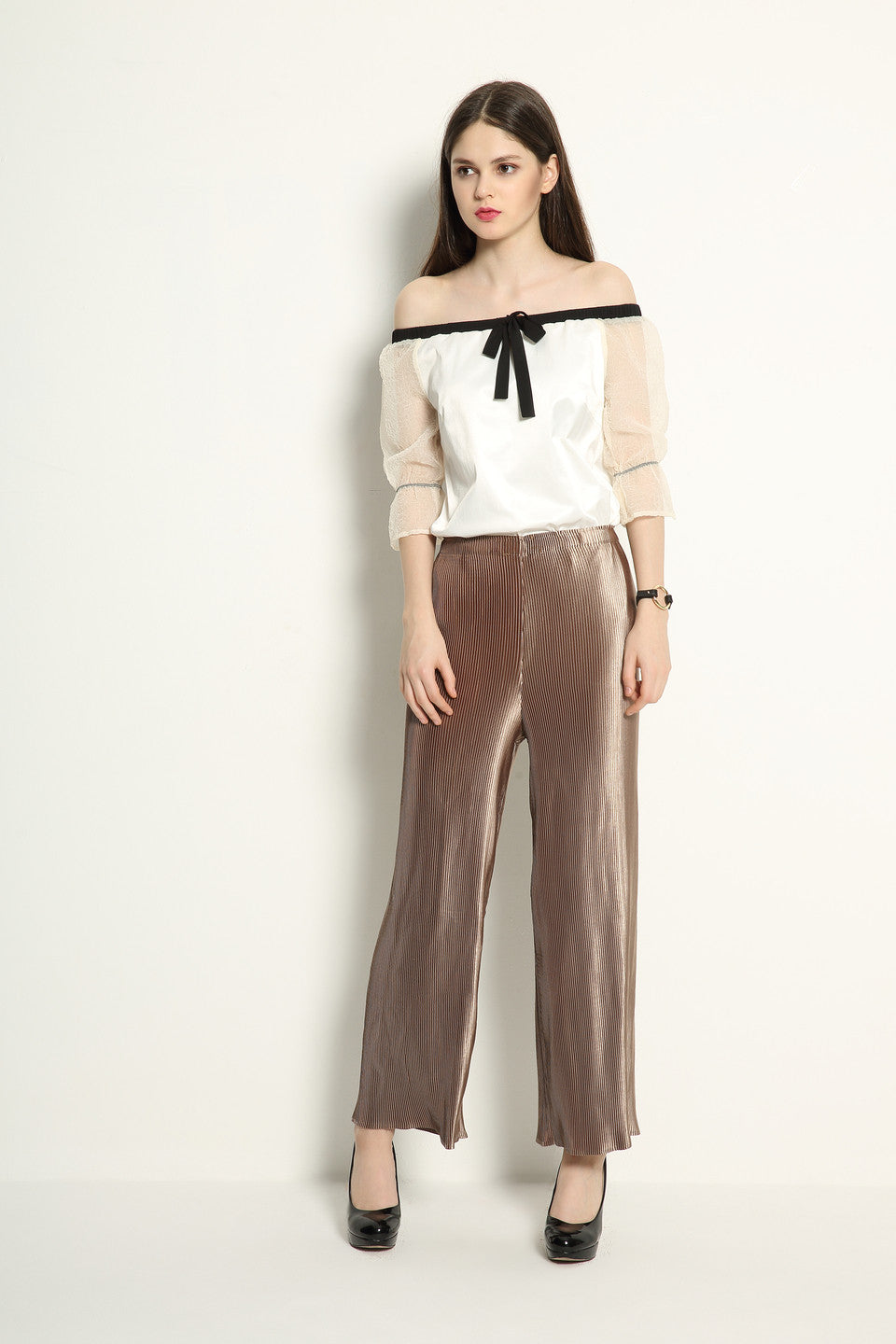 Metallic Pleat Trousers - GlanceZ   - 1
