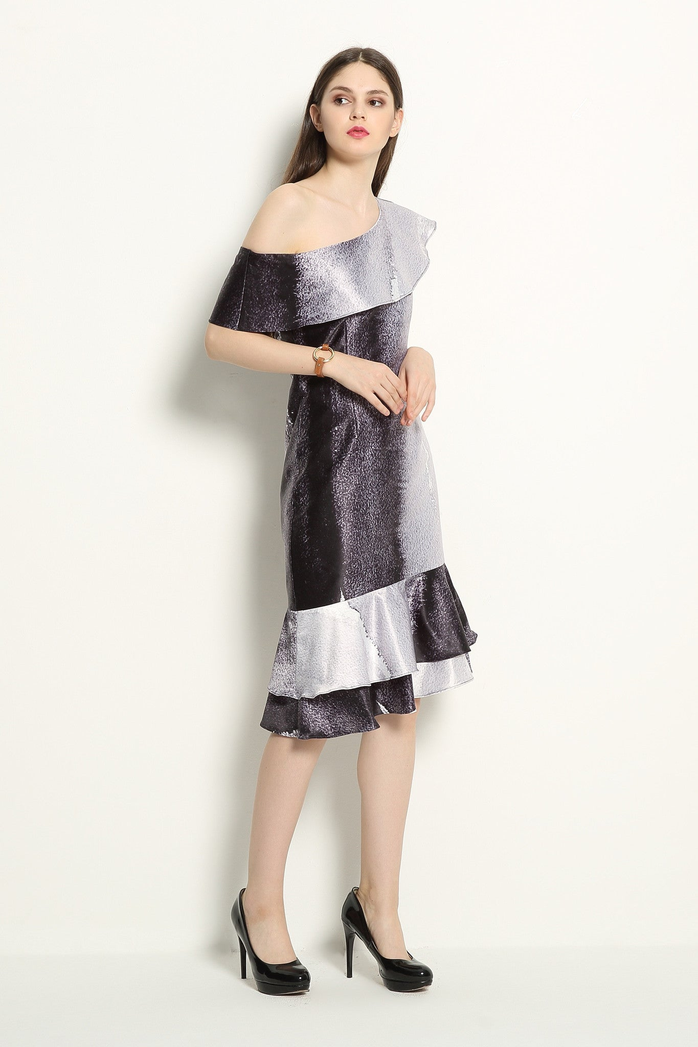 Watercolor Print One Shoulder Dress - GlanceZ   - 2