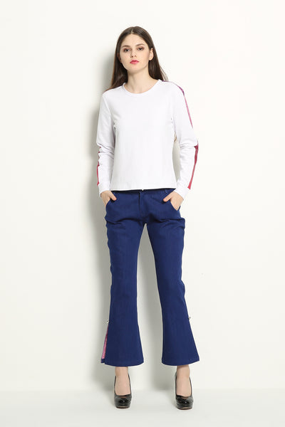 Slit Flare Jeans With Color Lining - GlanceZ   - 1