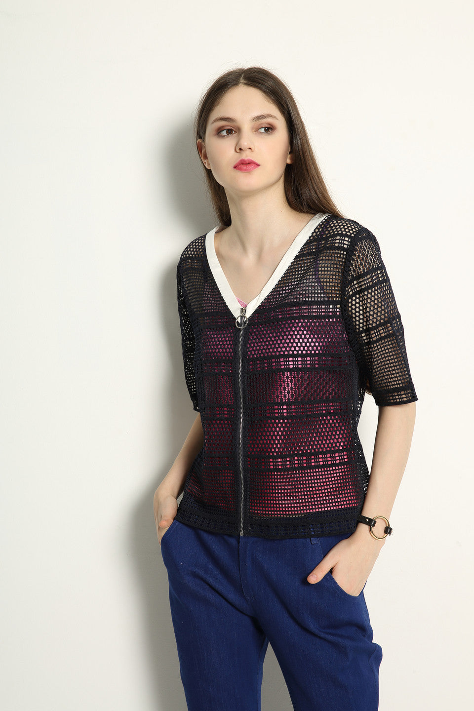 Lace Jacket With Ring Zipper Pull Set - GlanceZ   - 2