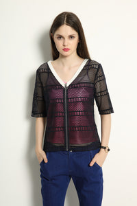 Lace Jacket With Ring Zipper Pull Set - GlanceZ   - 1