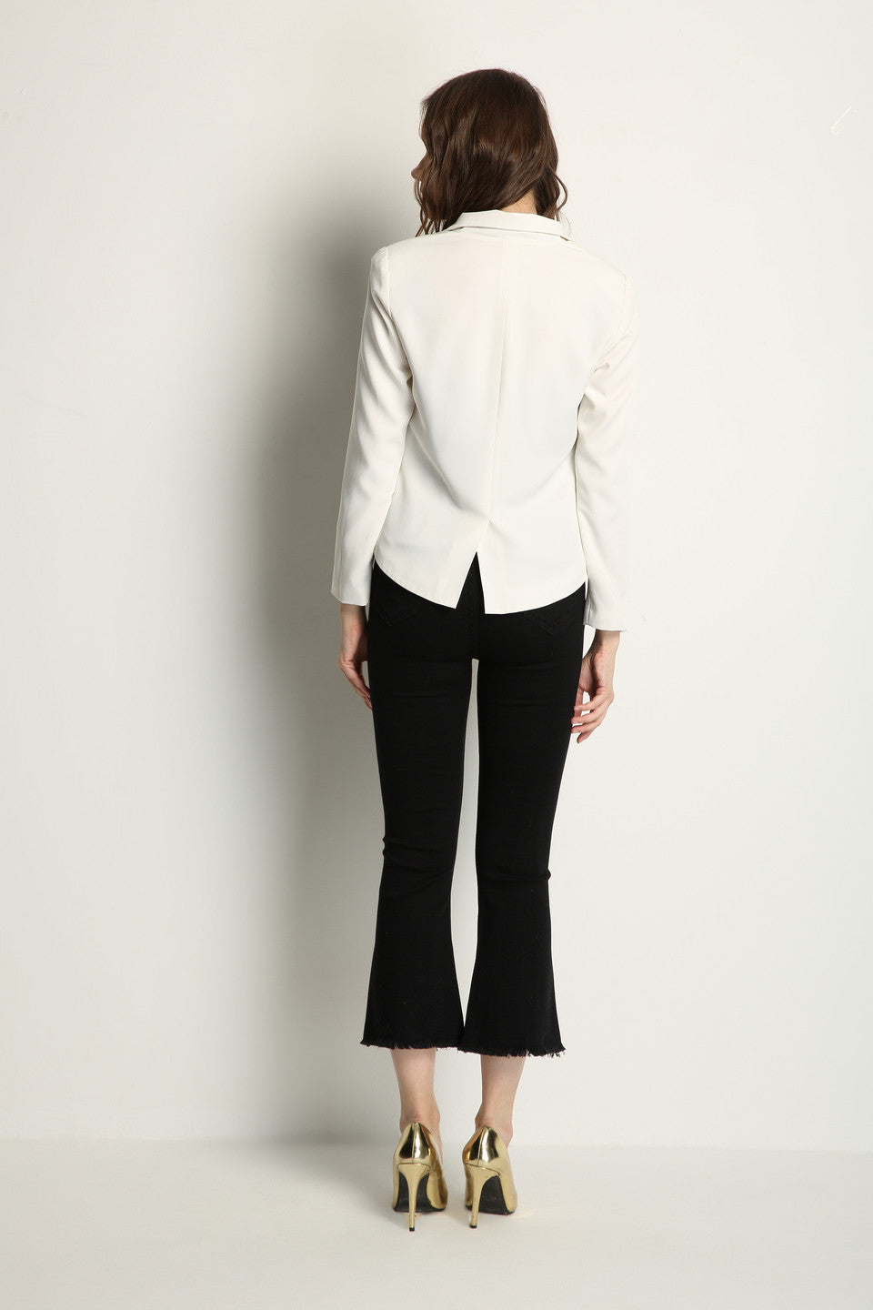 White Blazer With Gold Buttons - GlanceZ   - 4
