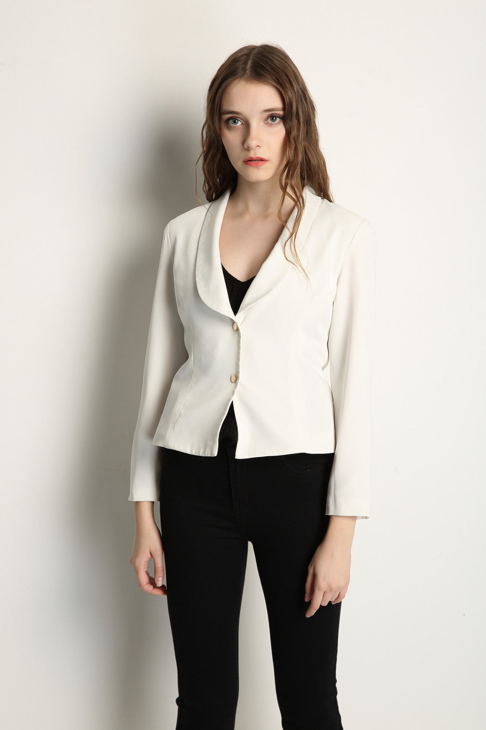 White Blazer With Gold Buttons - GlanceZ   - 2