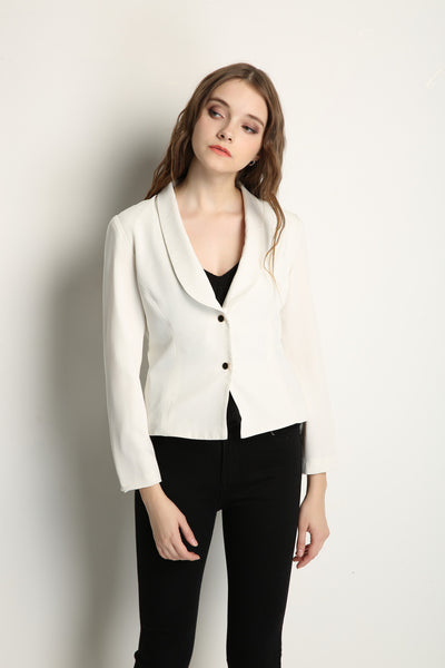 White Blazer With Gold Buttons - GlanceZ   - 1