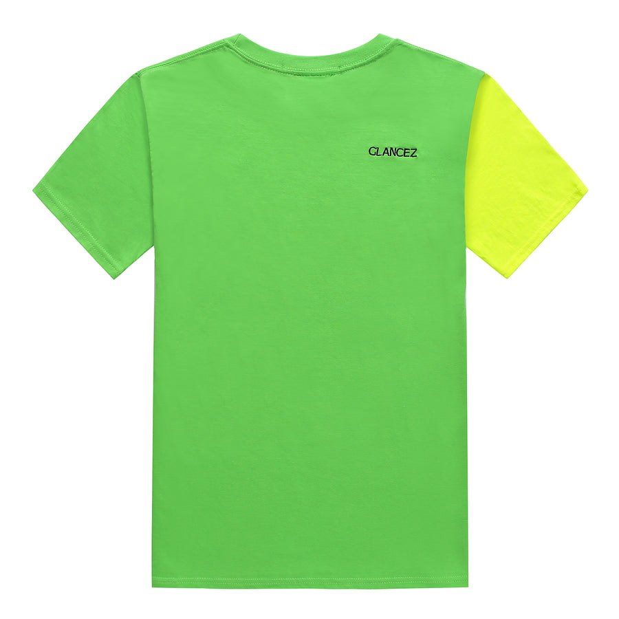 Korean Slogan Colorblock T-Shirt With Embroidery Logo