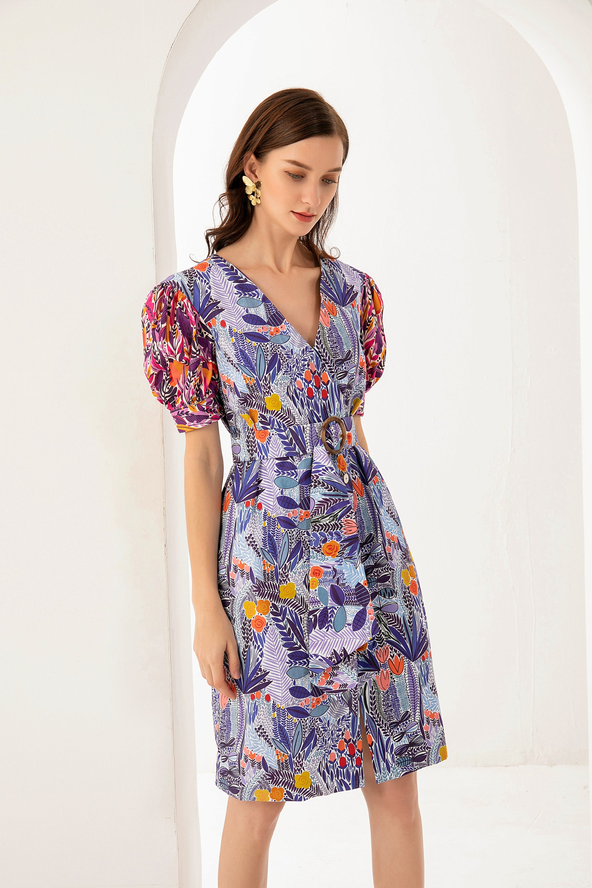 PRE-ORDER Claire Mixed Prints Dress