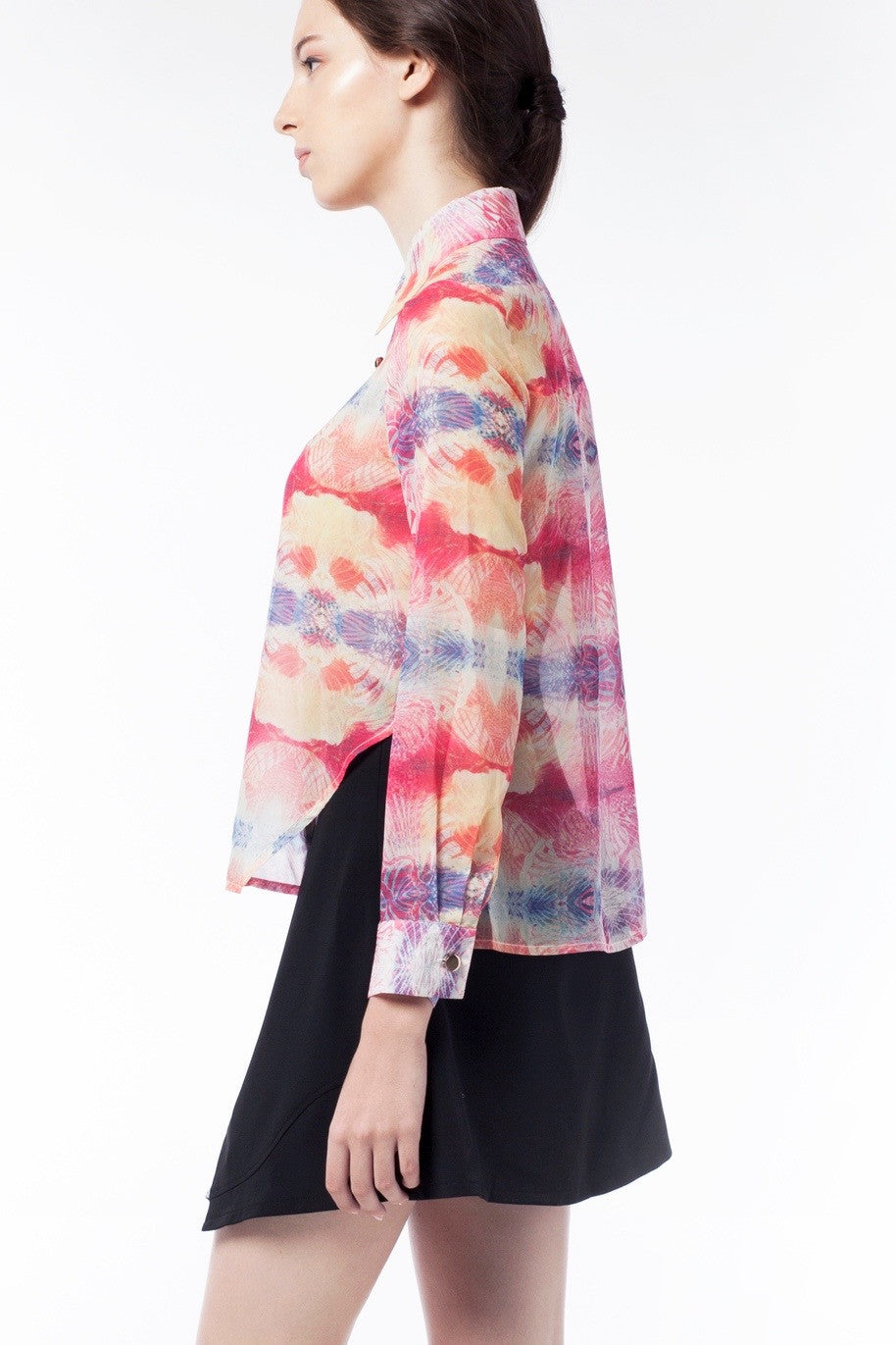 Kaleidoscopic Print Sheer Blouse - GlanceZ   - 4