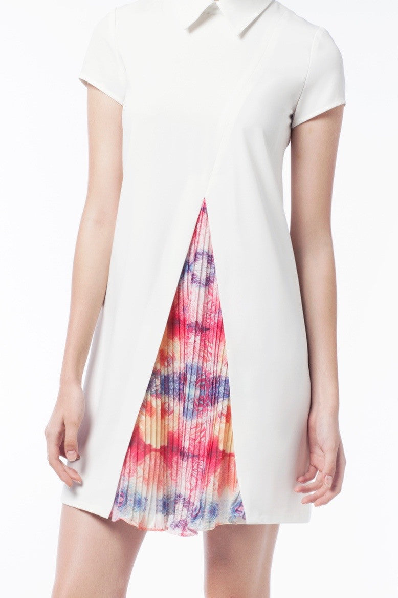 Discrete Print Pleat Dress - GlanceZ   - 4