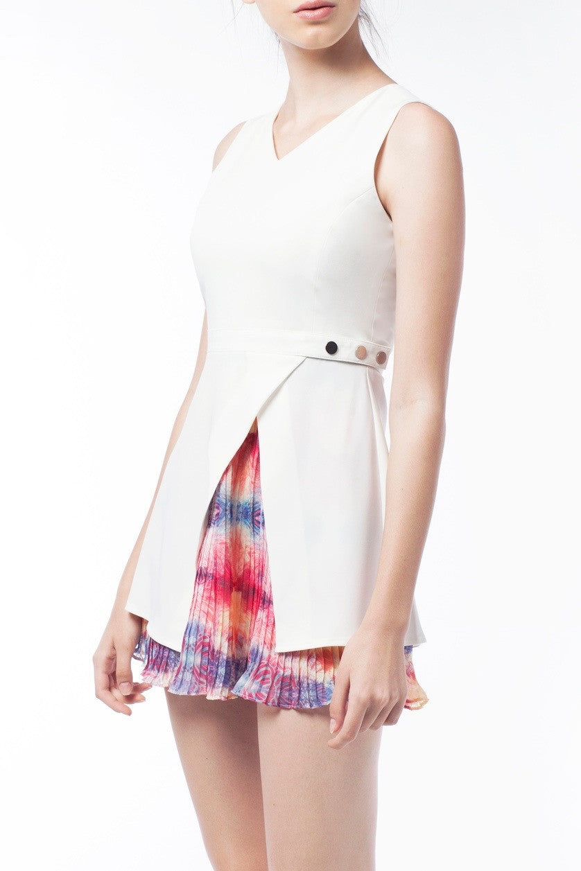 Overlay Pleat Dress With Silver Button - GlanceZ   - 4