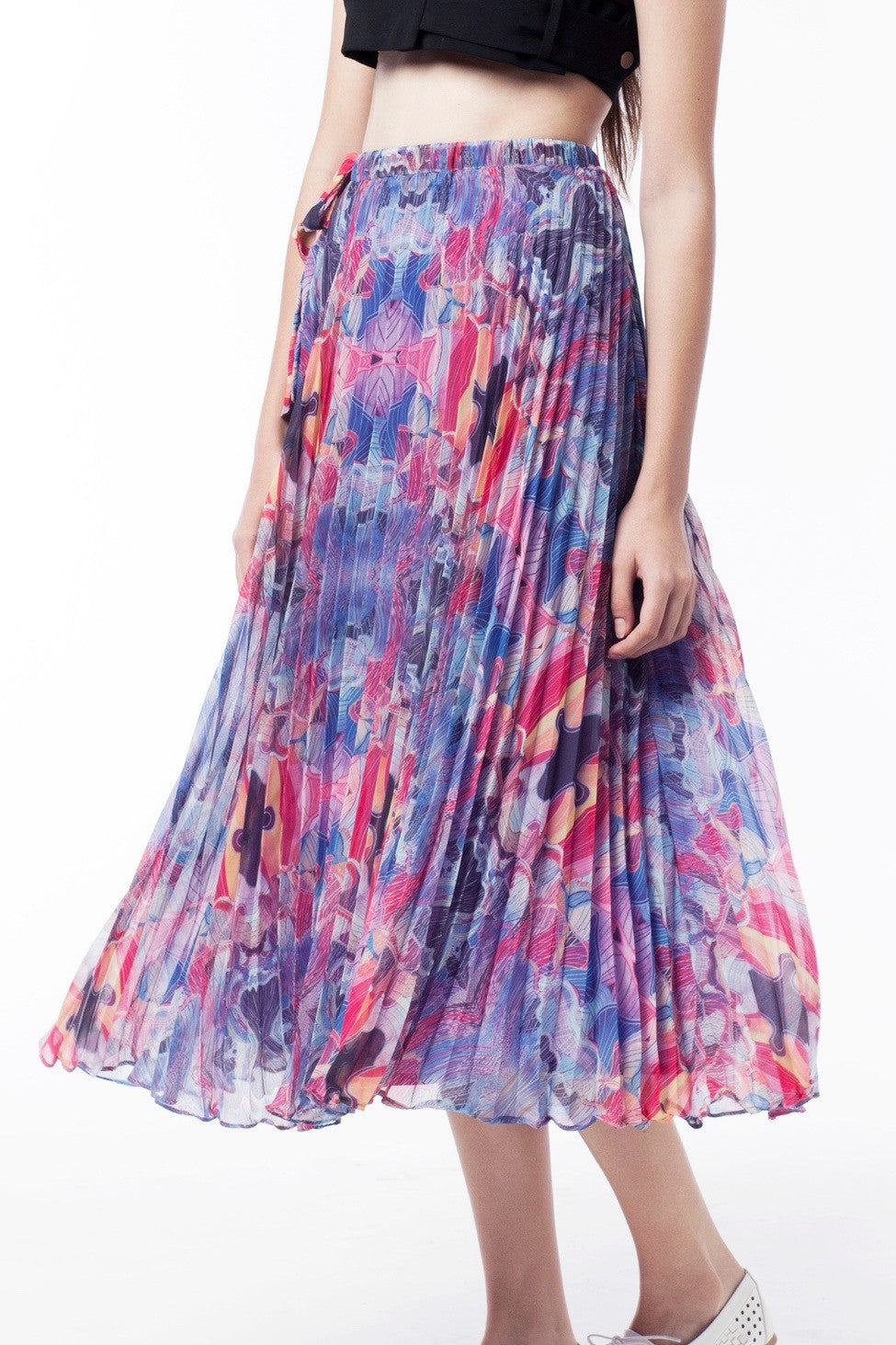 Kaleidoscopic Print Pleat Skirt - GlanceZ   - 4