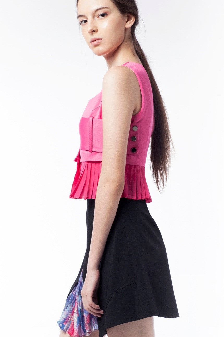 Pink Pleat Vest With Silver Button - GlanceZ   - 4