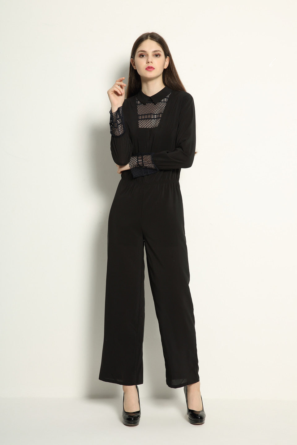 Japanese Lace Detail Jumpsuit - GlanceZ   - 2