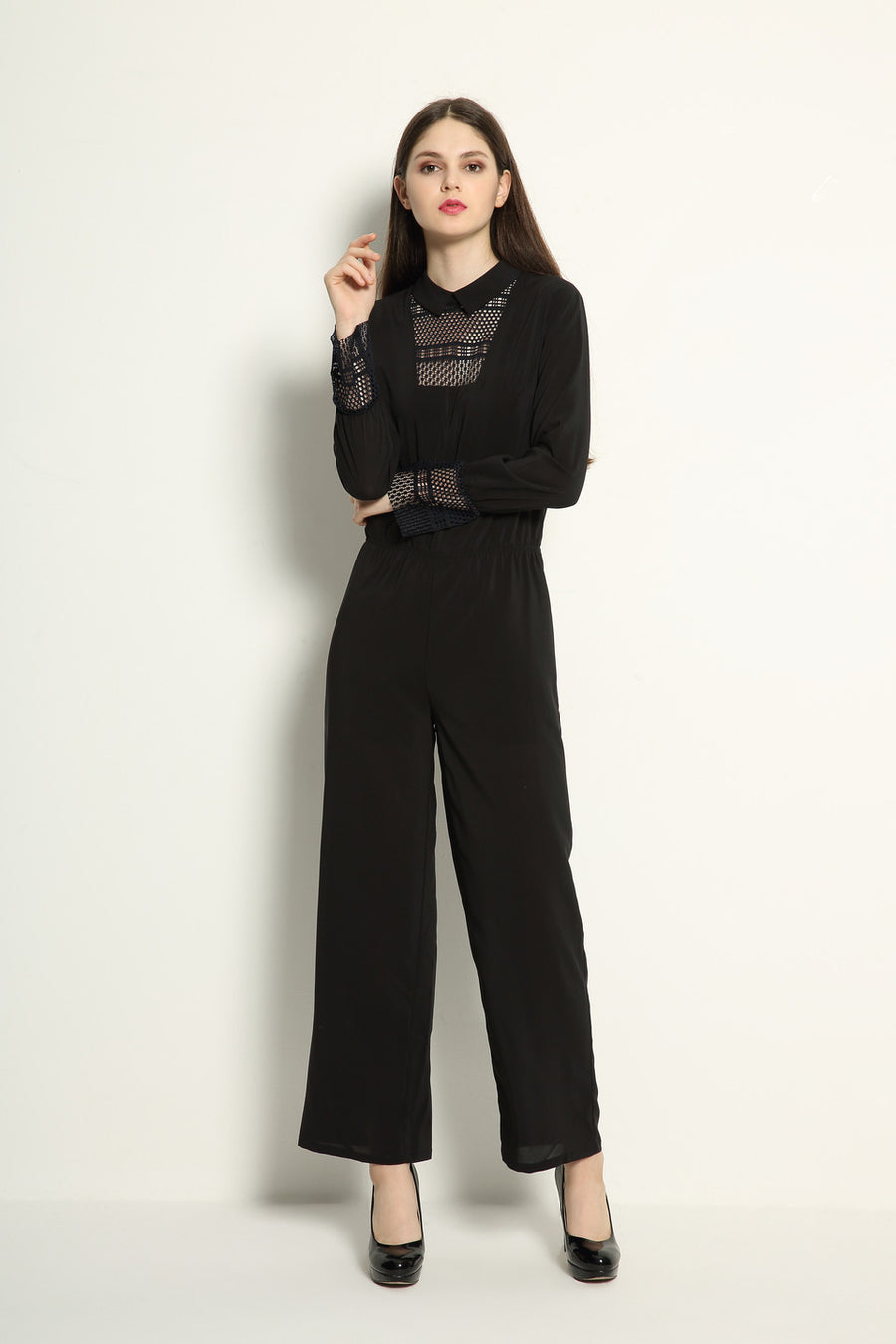 Japanese Lace Detail Jumpsuit - GlanceZ   - 1