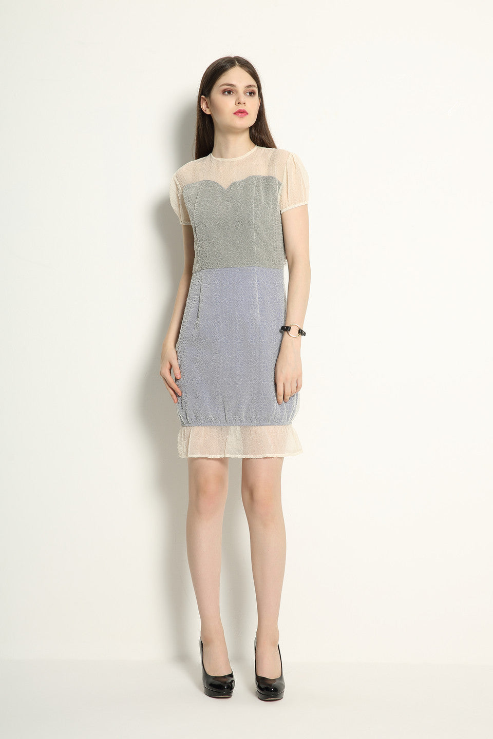 Organza Double Layered Contrast Dress - GlanceZ   - 3