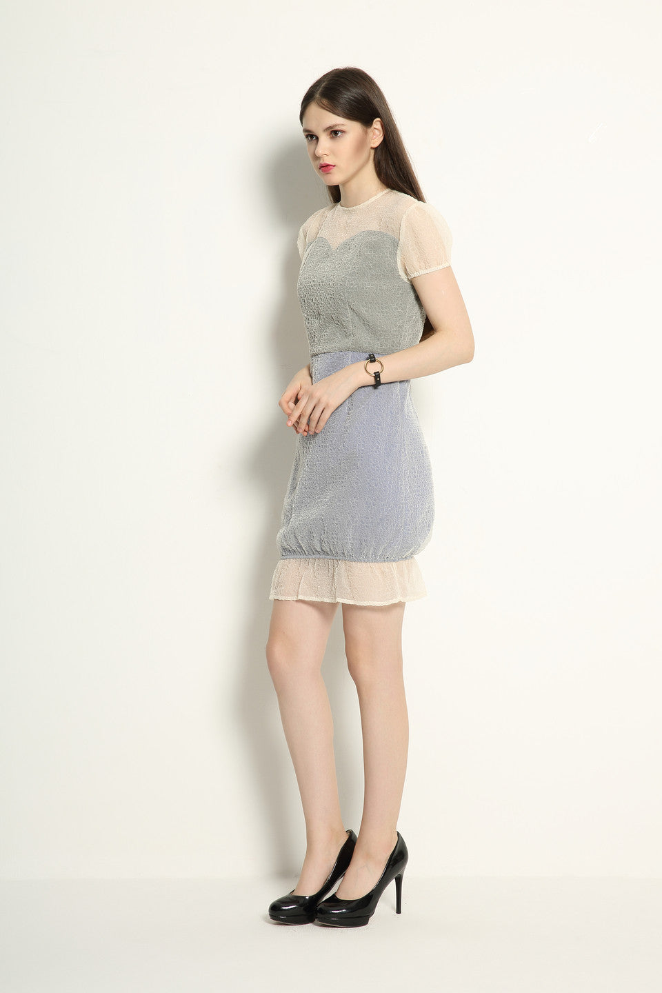 Organza Double Layered Contrast Dress - GlanceZ   - 4