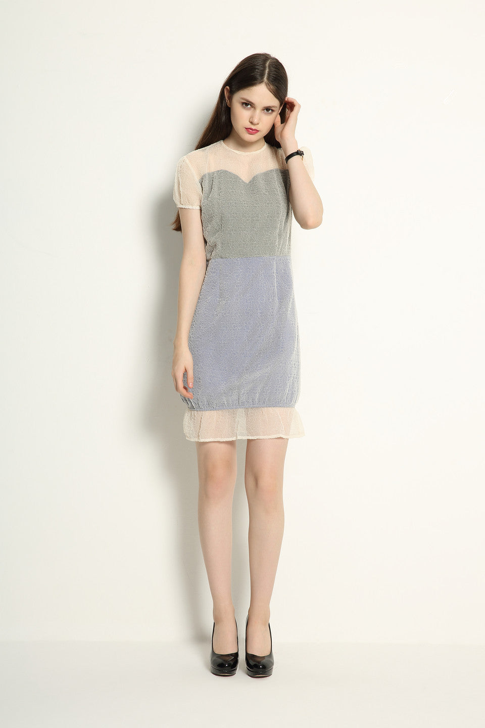 Organza Double Layered Contrast Dress - GlanceZ   - 2