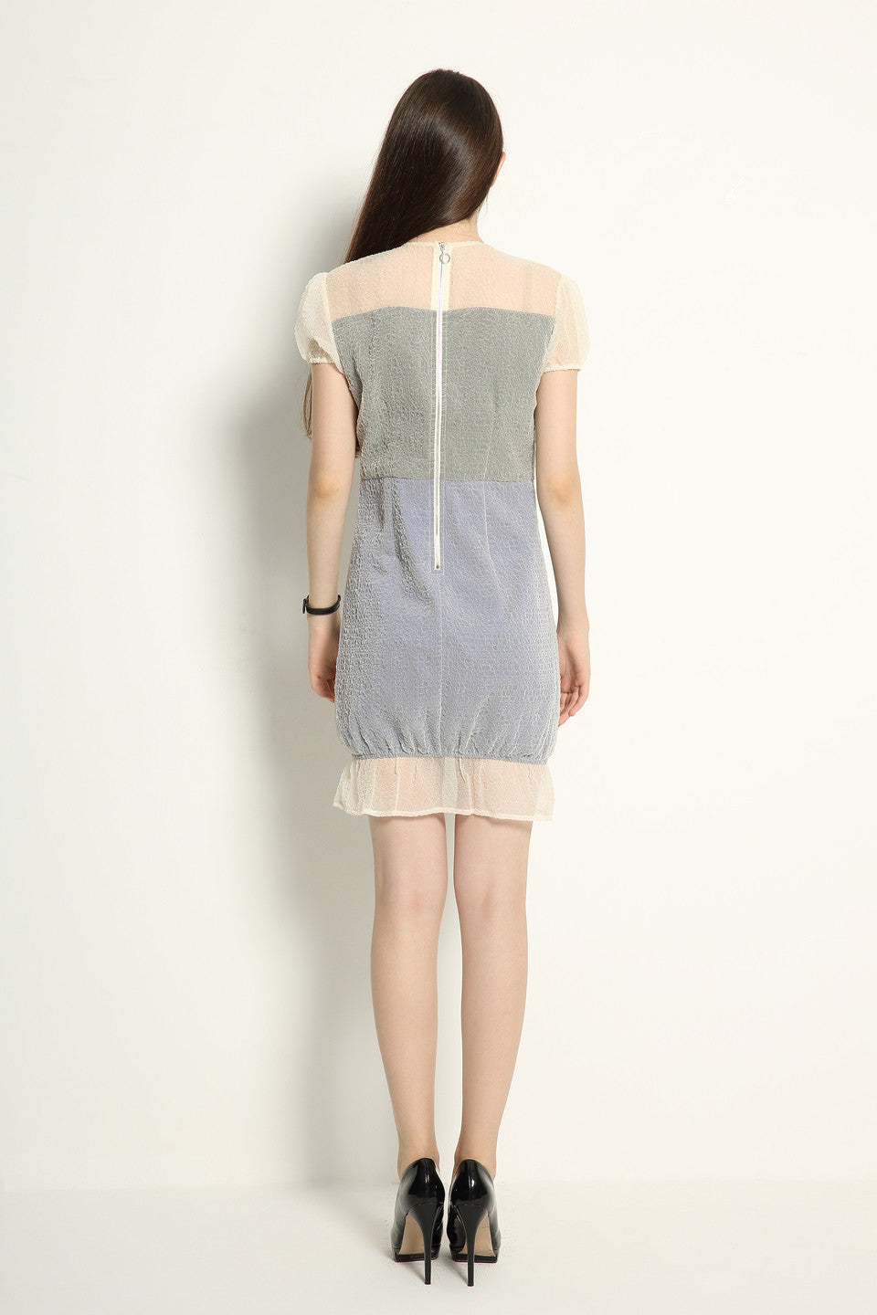 Organza Double Layered Contrast Dress - GlanceZ   - 6
