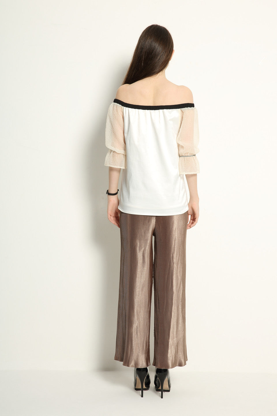 Metallic Pleat Trousers - GlanceZ   - 5