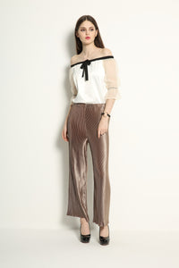Metallic Pleat Trousers - GlanceZ   - 3