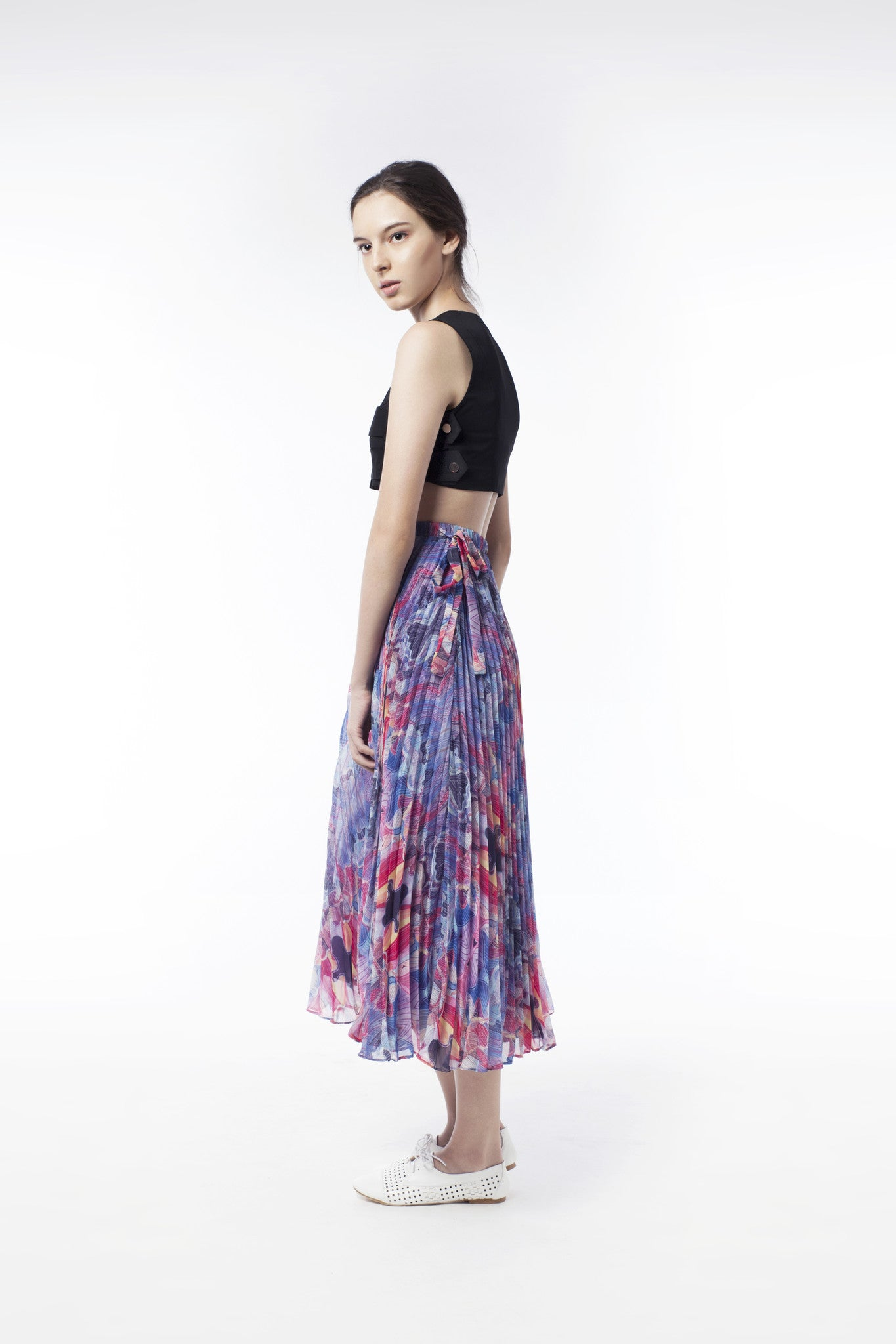 Kaleidoscopic Print Pleat Skirt - GlanceZ   - 3