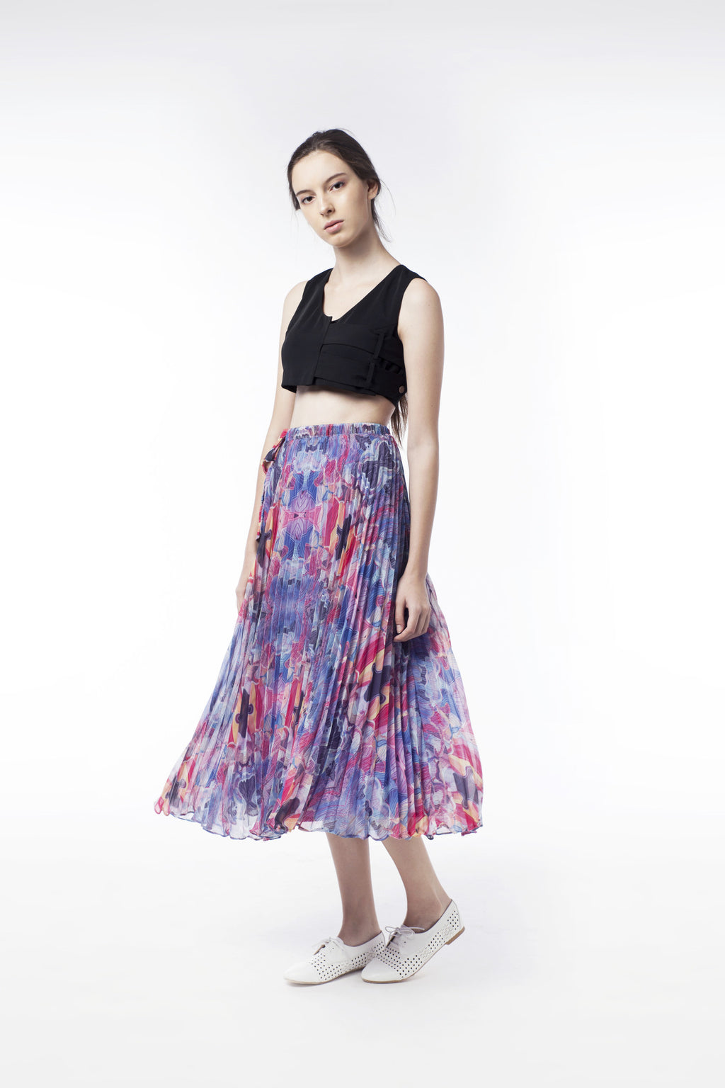 Kaleidoscopic Print Pleat Skirt - GlanceZ   - 1
