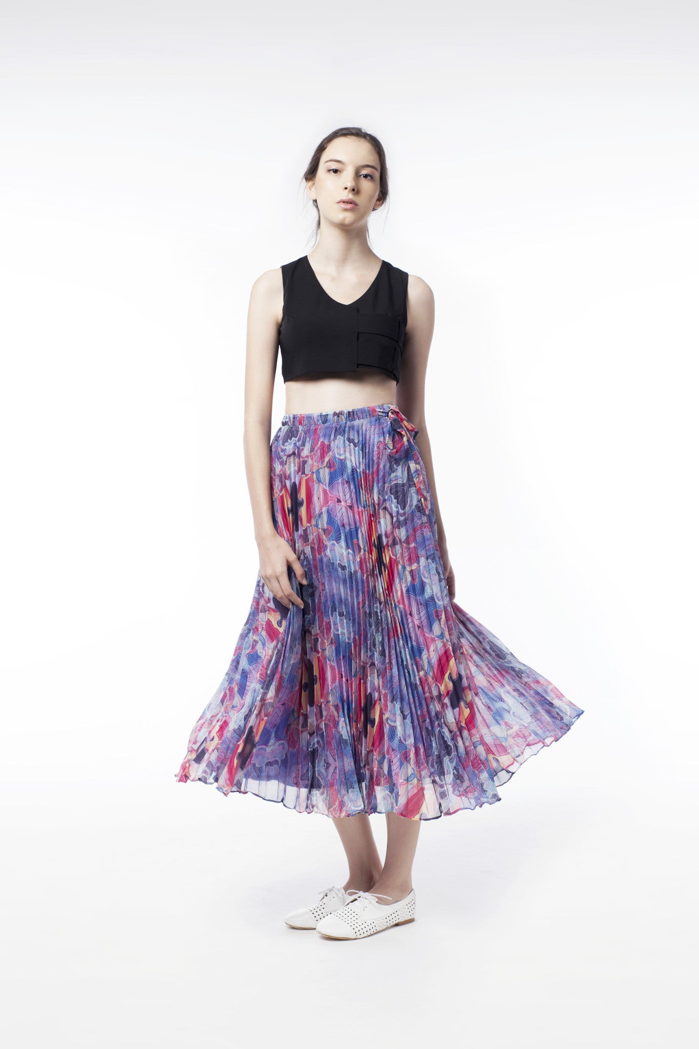 Kaleidoscopic Print Pleat Skirt - GlanceZ   - 2