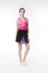 Pink Pleat Vest With Silver Button - GlanceZ   - 1