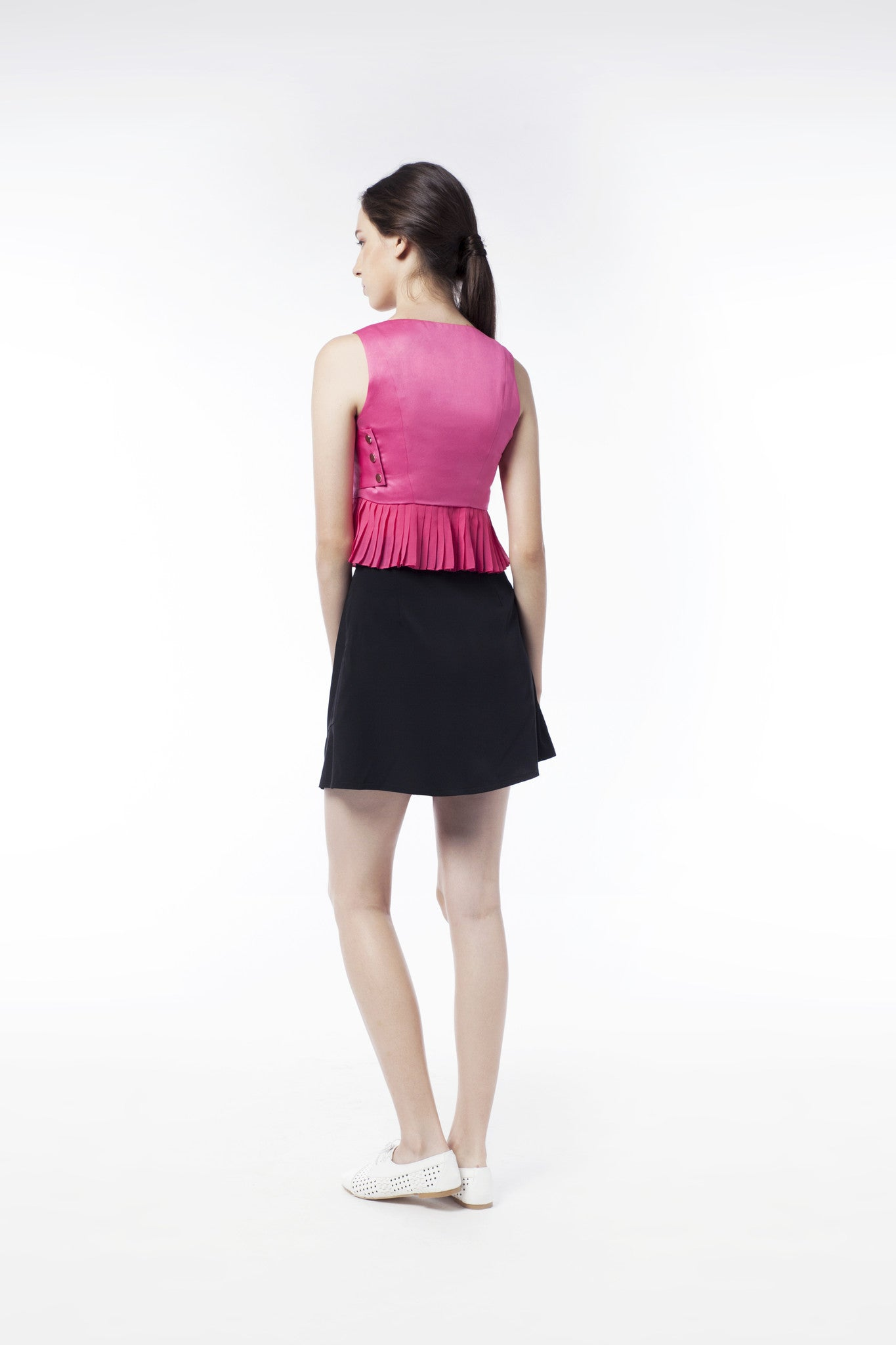 Pink Pleat Vest With Silver Button - GlanceZ   - 3