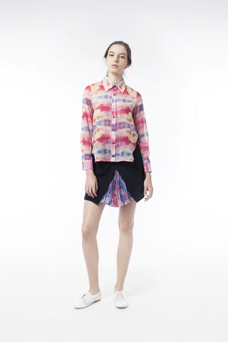 Kaleidoscopic Print Sheer Blouse - GlanceZ   - 1