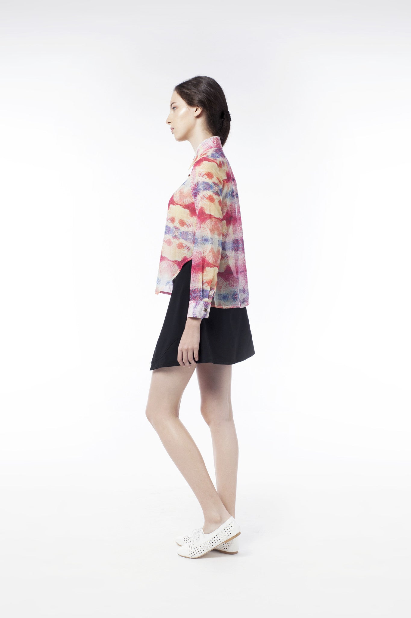 Kaleidoscopic Print Sheer Blouse - GlanceZ   - 2