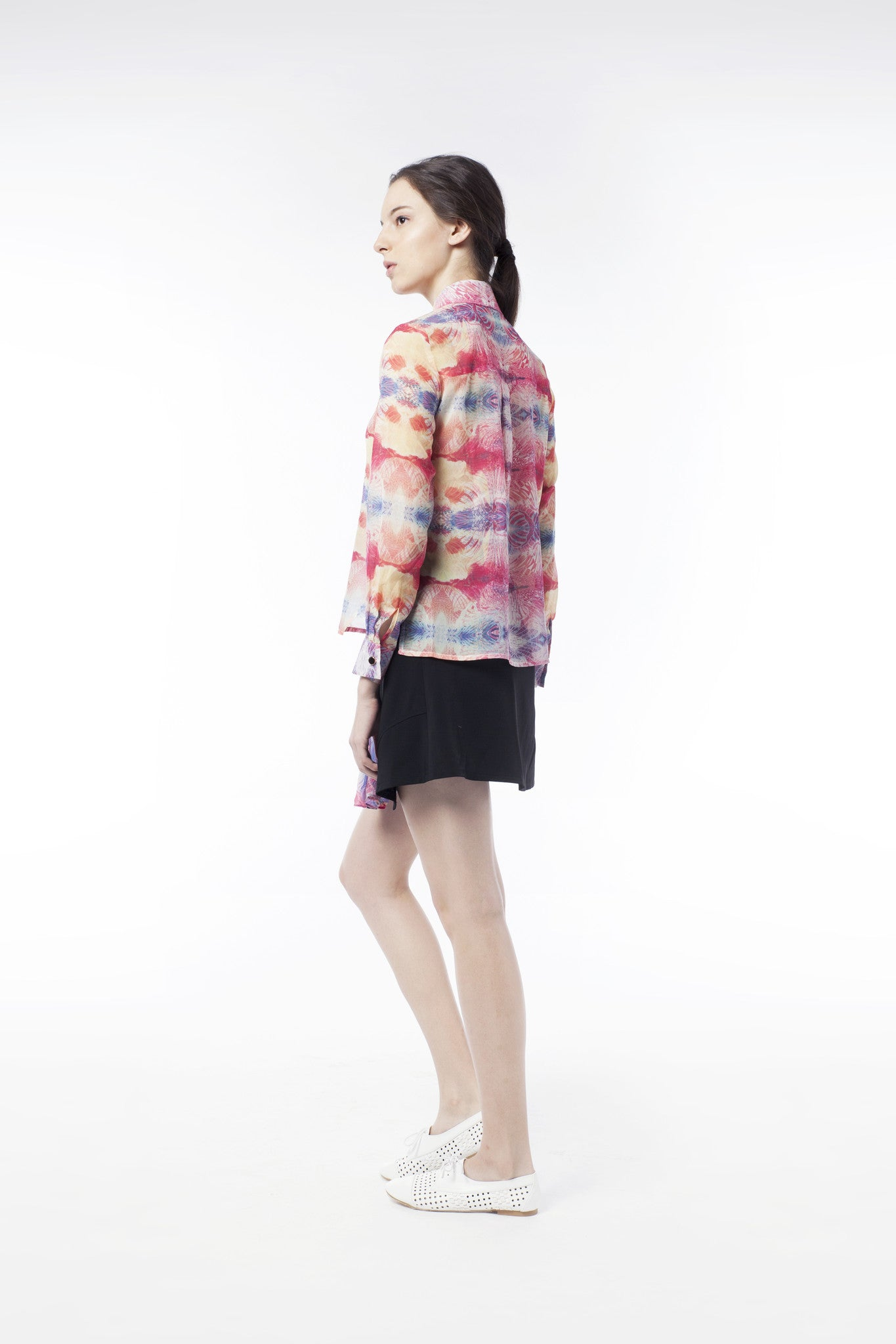 Kaleidoscopic Print Sheer Blouse - GlanceZ   - 3
