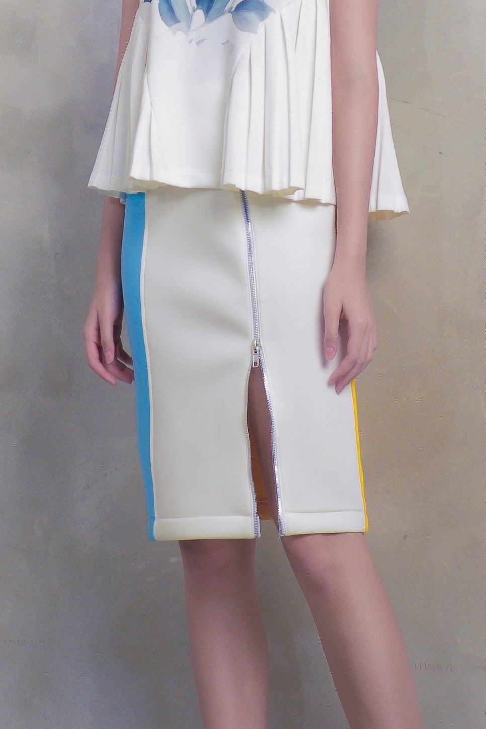 Color Block Double Slider Zip Skirt - GlanceZ   - 4